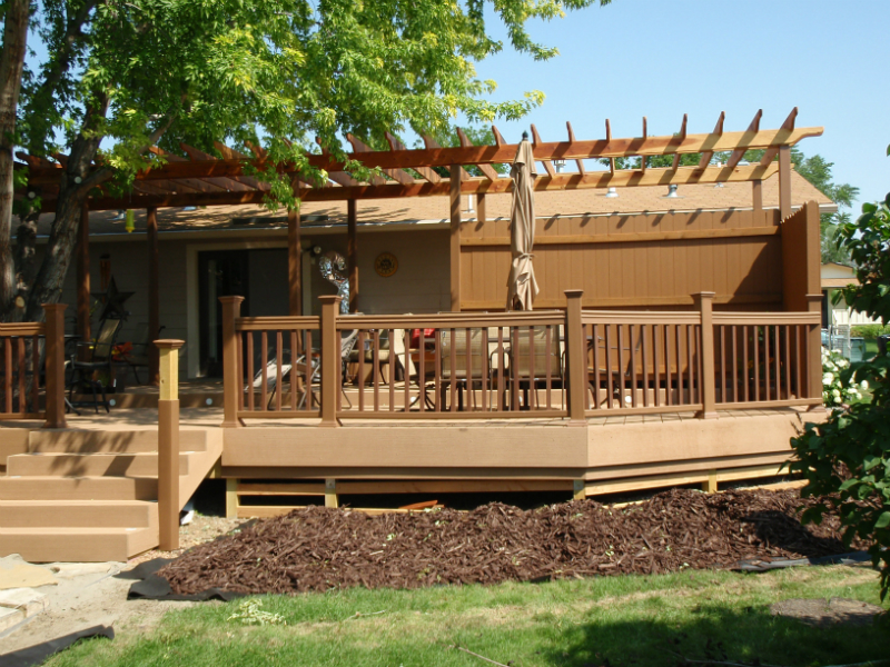 Custom deck with matching pergola.