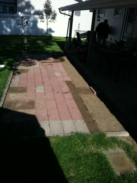 Patio installation in progress.
