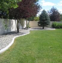 Rock beds in backyard