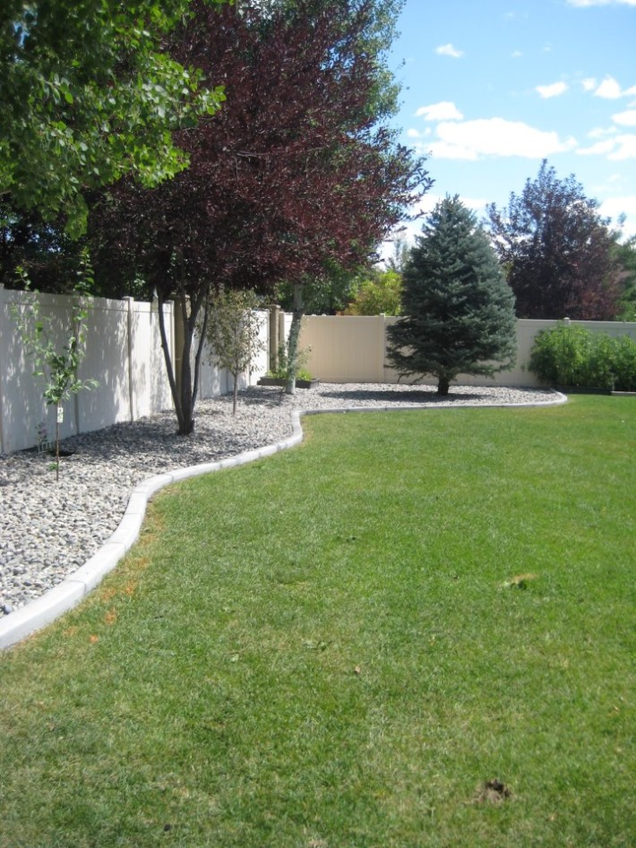 Rock beds in backyard