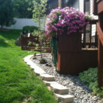 landscaped yard and patio with flowers