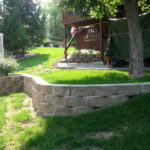 yard with retaining wall